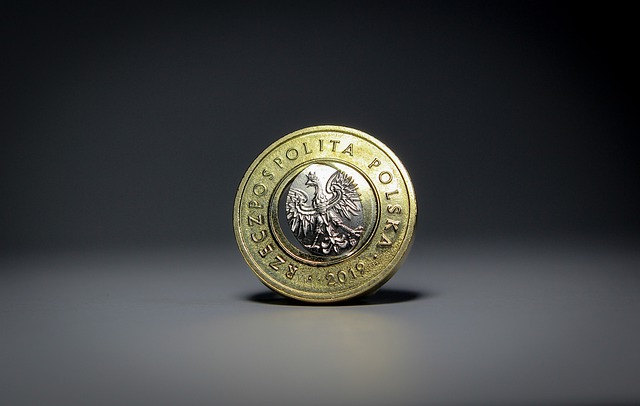polská měna, lesklá mince, orlice